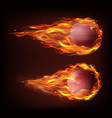 realistic flying cricket ball in fire vector image vector image