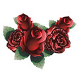 Red Roses with Leaves2 vector image