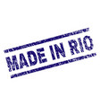 scratched textured made in rio stamp seal vector image vector image