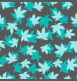 seamless pattern with turquoise maple leaves vector image vector image