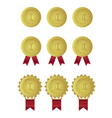 set of gold medals with red ribbons vector image vector image