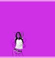 sexy girl with black long hair in a jeans on pink vector image vector image