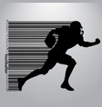 silhouette of a football player and barcode rugby vector image vector image