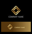 square shape geometry gold logo vector image