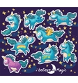 Sticker set of cute cartoon unicorn with rainbow vector image