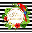 summer banner with red parrot vector image vector image