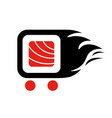 sushi delivery logo template vector image