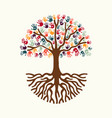 tree hand for diverse people team help vector image vector image