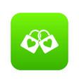 two locked padlocks with hearts icon digital green vector image
