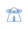 ufo line icon concept ufo flat symbol vector image