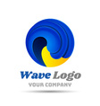 Waves Colorful 3d Volume Logo Design Corporate vector image