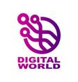 world tech logo design template abstract digital vector image vector image