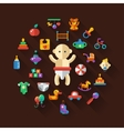 Set of flat design cute baby icons vector image