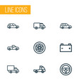 automobile icons line style set with van pickup vector image vector image