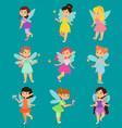 beautiful fairy princesses fairy wings fly vector image