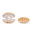 beautiful pearl shell icon set vector image vector image