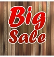 Big sale label over wood background vector image