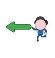 businessman character running and holding arrow vector image vector image