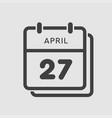 calendar day 27 april days year vector image vector image