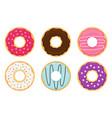 cartoon cute colorful set donuts vector image