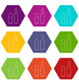 cartridge icons set 9 vector image
