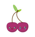 cherry sad and cheerful kawaii cute cartoon funny vector image