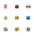 Cinematography icons set pop-art style vector image vector image