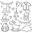 collection of baby object doodles vector image vector image