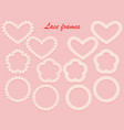 collection of white lace frames of different vector image vector image
