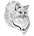 coloring antistress cat 10 vector image