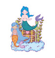couple mermaids with treasure chest undersea vector image