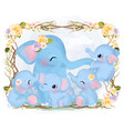 cute mommy and baby elephants vector image vector image