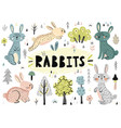 cute rabbits trees plants and other elements vector image