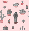 doodle textured cactuses seamless pattern vector image