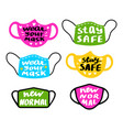 face mask icons set vector image