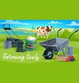 farm tools wheelbarrow cow and veggies vector image vector image