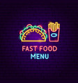 fast food menu neon label vector image vector image