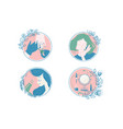 female care and spa icon set vector image