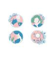 Female care and spa icon set