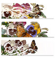floral backgrounds set with violets flowers vector image