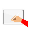 hand drawing on new tablet vector image vector image