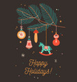 happy holidays greeting cards template vector image vector image