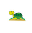kawaii turtle on the grass vector image