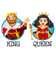 King and queen on round badges vector image vector image