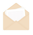 letter in open beige envelope vector image