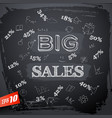 lettering big sales on blackboard vector image
