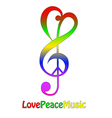Love peace and music isolated on white vector image