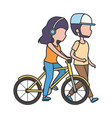 man walking and woman with headphones riding bike vector image