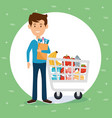 man with supermarket groceries in shopping bag vector image vector image