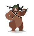 Military Bear with rifle Grizzlies with gun Wild vector image vector image